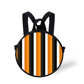 Pumpkin Color Block Stripe Pattern School Bag Shoulders Backpack