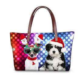 Christmas with Pet Dog Waterproof 3D Printed Shoulder Handbag