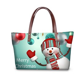 Christmas Snowman Say Hi Waterproof 3D Printed Shoulder Handbag