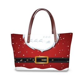Christmas Santa Cloth Waterproof 3D Printed Shoulder Handbag