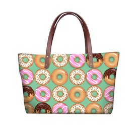 3D Colorful Doughnuts Waterproof Sturdy Printed for Women Girls Shoulder HandBag