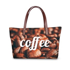 3D Coffee Bean Waterproof Sturdy Printed for Women Girls Shoulder HandBag