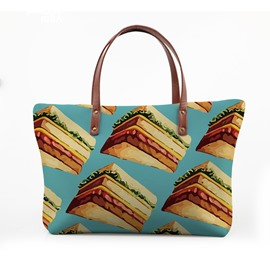 3D Tempting Sandwich Waterproof Sturdy Printed for Women Girls Shoulder HandBag