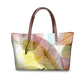 3D Big Fancy Leaf Printed for Women Girls Shoulder HandBag