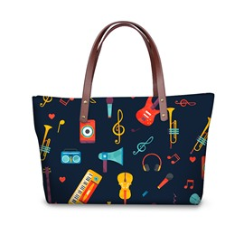 3D Instruments and Notes Printed for Women Girls Shoulder HandBag