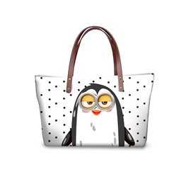 3D Cute Penguin Waterproof Sturdy Printed for Women Girls Shoulder HandBag