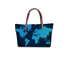 Unique Blue Map Pattern Waterproof Sturdy 3D Printed for Women Girls Shoulder HandBag