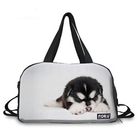 Cute Black Puppy Pattern 3D Painted Travel Bag