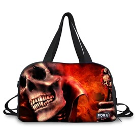 Cool Burgundy Skull Pattern 3D Painted Travel Bag