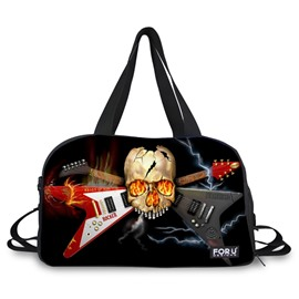 Cool Skull with Guitar Pattern 3D Painted Travel Bag