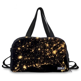 Shining Stars Pattern Black 3D Painted Travel Bag