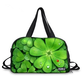Charming Four Leaf Clover Pattern 3D Painted Travel Bag