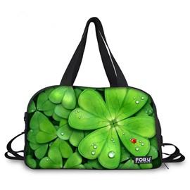 Charming Four Leaf Clover Pattern 3D Painted Travel Bag