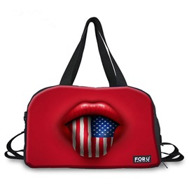 Special Sexy Flag Tongue Pattern 3D Painted Travel Bag