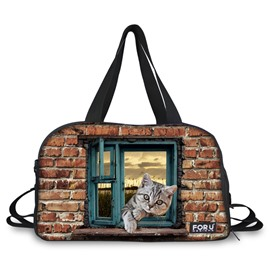 Animal with Window Pattern Nylon Large Capacity Shoulder 3D Travel Bags