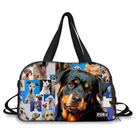 Dog Pattern Nylon Large Capacity Outdoor Shoulder 3D Travel Bags