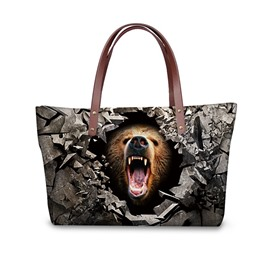 Bear' s Roar Waterproof Sturdy 3D Printed for Women Girls Shoulder HandBags