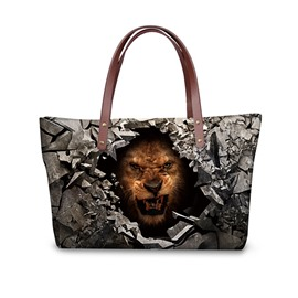Ferocious Tiger Face Waterproof Sturdy Shopping 3D Printed for Women Girls Shoulder HandBags