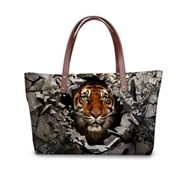 Sharp Look Tiger Pattern Waterproof Sturdy Shopping 3D Printed for Women Girls Shoulder HandBags