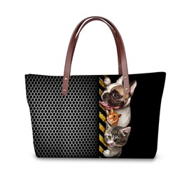 Close Friend Dog Cat Mouse Animals Black 3D Printed for Women Girls Shoulder HandBags