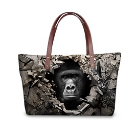 Black Orangutan Cool Face 3D Animals Printed for Women Girls Shoulder HandBags