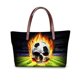 Football Field Skeleton Fire Waterproof Sturdy 3D Printed for Women Girls Shoulder HandBags