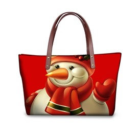 Snowman Say Hi Waterproof Sturdy 3D Printed for Women Girls Shoulder HandBags