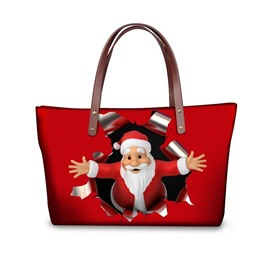 Santa Claus Give You A Hug Waterproof Sturdy 3D Printed for Women Girls Shoulder HandBags