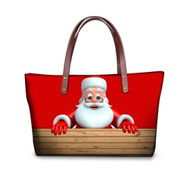 Santa Claus Adorable Pattern Waterproof Sturdy 3D Printed Shoulder HandBags