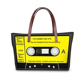 Yellow Radio Tape Waterproof Sturdy 3D Printed for Women Girls Shoulder HandBags