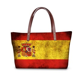 Spanish Flag Pattern Waterproof Sturdy 3D Printed Shoulder HandBags