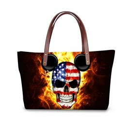 Fire US Flag Skeleton Micky Waterproof Sturdy 3D Printed for Women Girls Shoulder HandBags