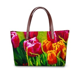 Tulip Floral Flowering Pattern Waterproof Sturdy 3D Printed Shoulder HandBags