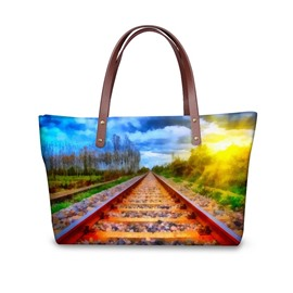 Beautiful Scenery Railway Sun Waterproof Sturdy 3D Printed for Women Girls Shoulder HandBags
