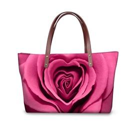 Pink Rose Flowering Waterproof Sturdy 3D Printed for Women Girls Shoulder HandBags