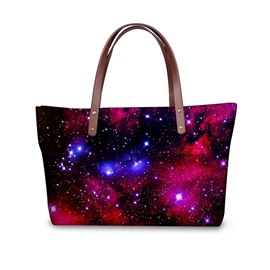 Galaxy Universal Star Red Pattern Waterproof Sturdy 3D Printed for Women Girls Shoulder HandBags