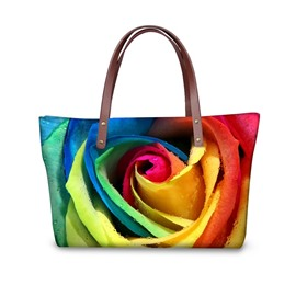 Colorful Rose Flowering Personality Waterproof Sturdy 3D Printed for Women Girls Shoulder HandBags