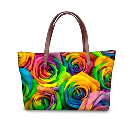 Floral Pattern Waterproof Sturdy 3D Printed for Women Girls Shoulder HandBags