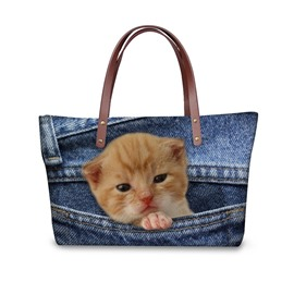 Orange Cat Animals Waterproof 3D Printed Shoulder HandBags