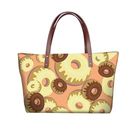 3D Doughnuts Waterproof Sturdy Printed for Women Girls Shoulder HandBag