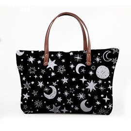 3D Stars and Moon Waterproof Sturdy Printed for Women Girls Shoulder HandBag