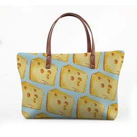 3D Cheese Waterproof Sturdy Printed for Women Girls Shoulder HandBag