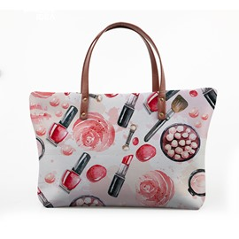 3D Lipstick and Pink Rose Waterproof Sturdy Printed for Women Girls Shoulder HandBag