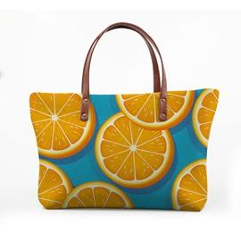 3D Slice Oranges Waterproof Sturdy Printed for Women Girls Shoulder HandBag