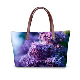 3D Purple Flowers in Bloom Waterproof Sturdy Printed for Women Girls Shoulder HandBag