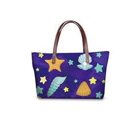 3D Stars and Shells Waterproof Sturdy Printed for Women Girls Shoulder HandBag