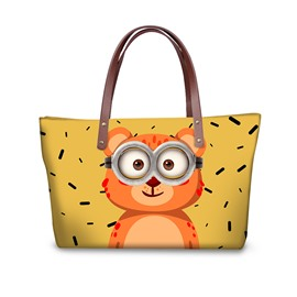 Cute Bear Wearing Glasses Waterproof Sturdy 3D Printed for Women Girls Shoulder HandBag