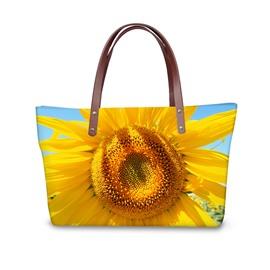 Bright Big Yellow Sunflower Waterproof Sturdy 3D Printed for Women Girls Shoulder HandBag