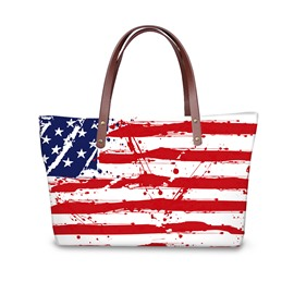 3D Stars and Strips Waterproof Sturdy Printed for Women Girls Shoulder HandBag