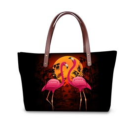 Couple Flamingos Under the Setting Sun Waterproof Sturdy 3D Printed Shoulder HandBag